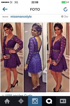 Vestido de Renda Curto Azul Miss Mano