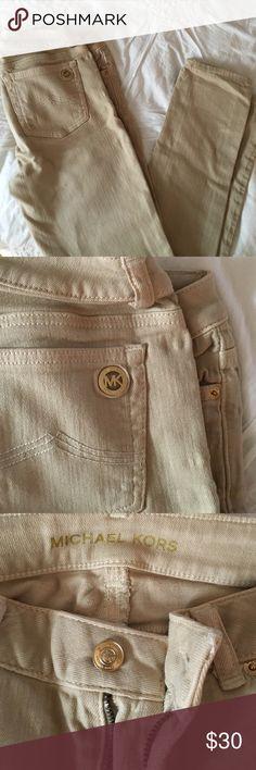 MK khaki colored jeans Great condition - Size 0 (fits 0/2) Michael Kors Jeans