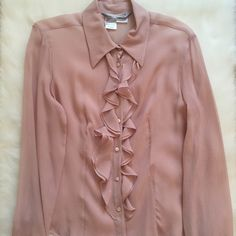 MaxMara Silk Ruffled Blouse Absolutely gorgeous MaxMara Silk ruffled blouse. Beautiful details. Size 12, best fits like a large or bigger medium. Recently dry-cleaned and in excellent condition. Will provide measurements if requested. MaxMara Tops Blouses