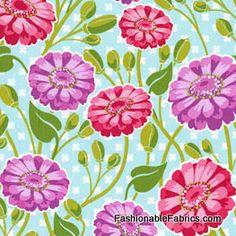Fabric... Lush Zinnia Garden in Sky  by Patty Young