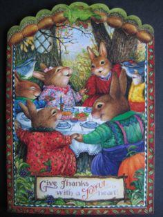 Susan Wheeler Holly Pond Hill Happy Thanksgiving Give Thanks Bunny Greeting Card Susan Wheeler, Beatrix Potter, Les Moomins, Somebunny Loves You, Thanksgiving Greeting Cards, Happy Thanksgiving, Bunny Painting, Rabbit Art, Bunny Art
