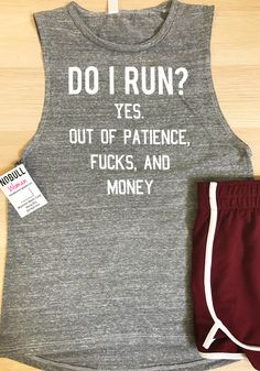 """Do I Run"" Women's Muscle Tank Top by NoBull Woman Apparel. Grab yours at https://nobullwoman-apparel.com/collections/fitness-tanks-workout-shirts/products/do-i-run-heather-gray-muscle-tank"