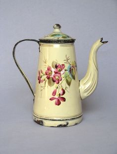 French Floral Handpainted Enamelware Coffee Pot - 1800s♥