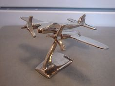 WWII Havilland Mosquito Chrome Metal Model Air Plane Display Art Deco Home Decor | eBay