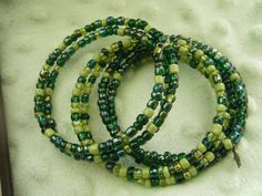 Set of three Hand Beaded Green Bracelets by gammiannes on Etsy