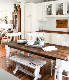 DIY Farmhouse Table - Want a farmhouse table? Make your own! Check out how to refinish one easily from My Creative Days.