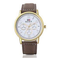 Herrenmode Leder Armbanduhren analoge Quarz beiläufige Geschäfts Stil relogio masculino kühl beobachten einzigartige Uhr beobachten 5082511 2016 – €6.85