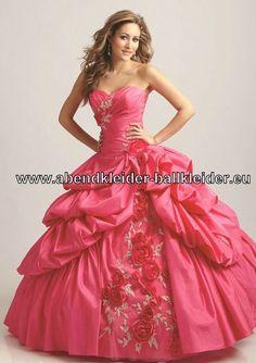 Pinkes Ballkleid Brautkleid Mit Blumen Stickereien