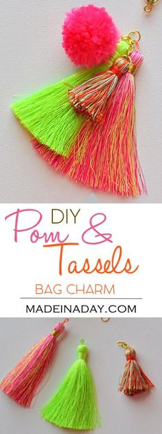 Super Easy DIY Pom & Tassel Bag Charm, Put together a simple tassel bag charm easily with jewelry findings and attach to your bag for the summer trendy look! pom pom, tassel, bag charm, tutorial on madeinaday.com