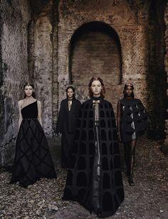 "vmagazine: "" VALENTINO (Haute Couture Fall/ Winter 2015-16) - model: Leila Nda, Sofia Tesmenitskaya, Grace Simmons & Yana Van Ginneken - photographer: Fabrizio Ferri - Vogue Italia September 2015 """