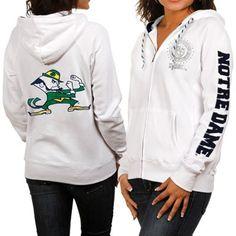 Notre Dame Fighting Irish Ladies White Glitz & Glamour Full Zip Hoodie Sweatshirt #fanatics Notre Dame Apparel, Notre Dame Gear, Notre Dame Football, Notre Dame Bookstore, Notre Dame Sweatshirt, Noter Dame, White Women, Ladies White, Fighting Irish