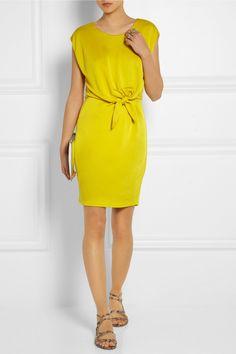 Halston Heritage|Tie-front jersey mini dress|NET-A-PORTER.COM