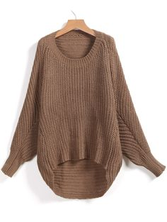 Shop Khaki Long Sleeve Dipped Hem Loose Sweater online. Sheinside offers Khaki Long Sleeve Dipped Hem Loose Sweater & more to fit your fashionable needs. Free Shipping Worldwide!