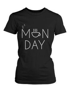 Women's Funny Black Graphic T-Shirt – Monday Graphic Design Coffee Mug