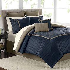 navy/tan comforter | Mira 12-Piece Comforter Set in Navy