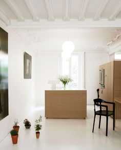 Room with white walls, white floors, white ceiling, white light fixtures, dark artwork, potted plants, black chair, wood cabinets, and white flowers