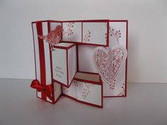 Tri-fold Shutter Card...white with red ink, ribbon & base...luv thedimensional heart...