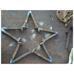 star made with rail road spikes #railroad spikes