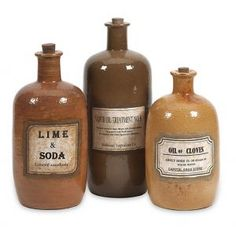 CC Home Furnishings Set of 3 Old-Fashioned Decorative Medicine Bottles with Stoppers 13.5
