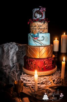 Beautiful Game Of Thrones Wedding Cake - Credits: Cake: Candytuft Cakes/Flowers:Marie Cafolla Flowers/Photography: Simon Hodge Photography