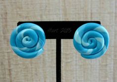 Blue Spiral Circle Earrings by OhYarnKnit on Etsy