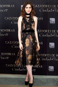 Lily Collins // City of Bones press conference, Madrid, August 2013 // Dolce & Gabbana dress