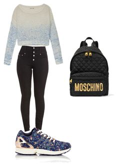 """A Regular Day At School"" by lizzycas on Polyvore featuring Olive + Oak, adidas, Moschino, women's clothing, women, female, woman, misses and juniors"