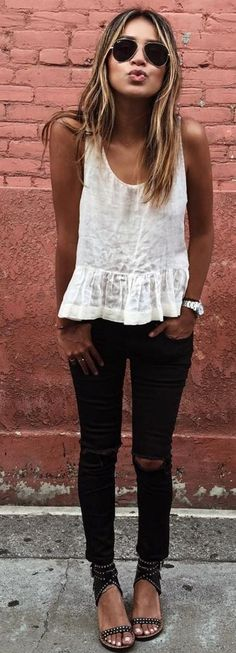 #sincerelyjules #spring #summer #besties | White Tank + Black Denim                                                                             Source