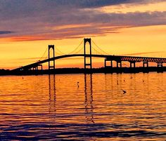 Sunset over Newport Pell Bridge