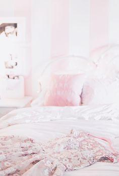 Pink and white striped wall, pink aesthetic #pinkaesthetic pink walls, pink decor, feminine home, feminine decor, Audrey hepburn decor