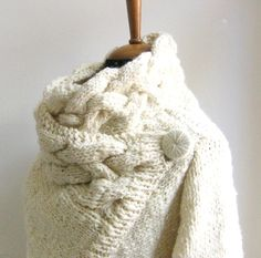 hand knit cardigan RIONA size Small chunky coat cream sweater wool and silk ivory door ovejanegra op Etsy https://www.etsy.com/nl/listing/61503219/hand-knit-cardigan-riona-size-small