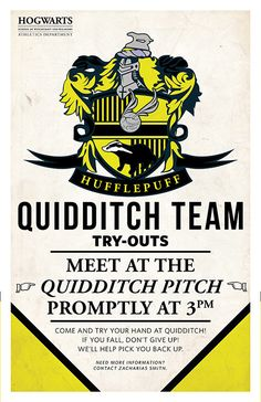 Large Hufflepuff Quidditch Tryouts Poster by PaperHooch on Etsy Quidditch Pitch, Hufflepuff Pride, Hufflepuff Bedroom, Harry Potter Love, Hogwarts Houses, Mischief Managed, Don't Give Up, Fantastic Beasts, Poster