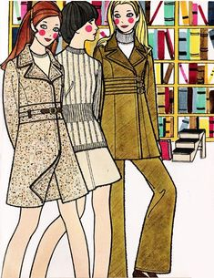 Fall fashion illustrations from Seventeen magazine, September 1969.