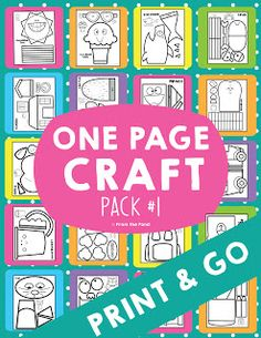 Kids Craft Print and Go - One Page Craft Variety Pack - From the Pond