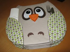 Cute Embroidery - owl placemats - must make!