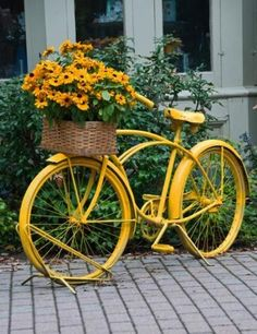 Bright Paint for Decorating Old Bikes and Recycling Frames for Colorful Garden Decorations