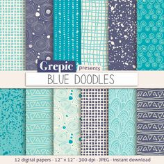 Doodle digital paper BLUE DOODLES with blue pen doodles by Grepic