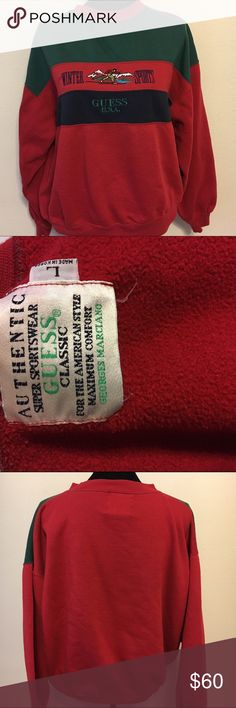 """Vintage rare guess """"winter sports"""" sweatshirt Vintage authentic super sportswear by George's Marciano. Guess classic. """"Winter sports """" early 90s. In good condition. Has some pilling. Super soft inside. 23 arm to arm and 23 shoulder to hem. Unisex. Green , red , blue. Vintage Tops Sweatshirts & Hoodies"""