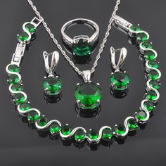 Discount 44% Original Price US $14.59 FAHOYO Unique Green Zirconia Round For Women 925 Sterling Silver Jewelry Sets Bracelet Necklace Pendant Earrings Ring QS0222 it: heres how #unique_necklaces