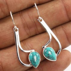 "TURQUOISE (S) Gems 7x10 Pear Stylish L-40 mm1 1/2"" 925 Sterling Silver Earrings #Unbranded #DropDangle Boho Look, Asian Beauty, Turquoise Bracelet, Pear, Silver Earrings, Dangles, Jewelry Making, Jewels, Sterling Silver"