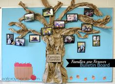 In an effort to share the personal lives of the teachers, but also to celebrate the students, and have them feel like they belong to the community, I would love to display every student with a photo of their family. One teacher suggested framed photos around the room. I like this Family Tree Bulletin Board. Each student could have their photo on a leaf. I like that all the leaves then belong to the same tree to form an even larger family of friends. :)