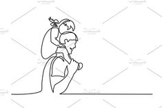 Continuous line drawing. Father kissing his little daughter. Daughters Name Tattoo, Father Daughter Tattoos, Dad Drawing, Owl Tattoo Design, Tattoo Designs, African Tattoo, Small Shoulder Tattoos, Continuous Line Drawing, Tattoo Graphic