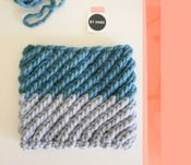 color-blocked cowl : turquoise + dusty blue