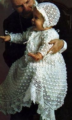 70's vintage crochet christening dress french pattern