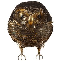 Hand-Sculpted Brutalist Owl after Sergio Bustamante | From a unique collection of antique and modern sculptures and carvings at https://www.1stdibs.com/furniture/folk-art/sculptures-carvings/