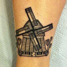Dutch windmill for Rachel. Thanks! #tattoo #tattoos #blackworkers #dotworkers
