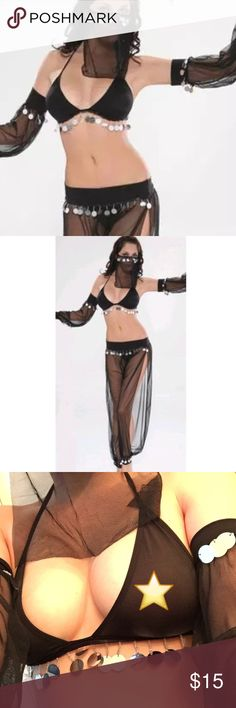 Sexy Belly Dancer Lingerie Costume Black Super Sexy Belly Dancer Lingerie Costume.  This is a 6-piece costume.  One veil, two sleeves, one bralette, one bottom, and one thong.  Sheer fabric adorned with sequins and beads.  New, without tags but in original packaging.    ***Bralette and thong are thin, underwear recommended underneath of this is to be worn in public! ***  Color:  BLACK Other