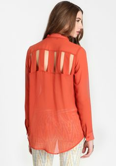 Outback Journey Cutout Blouse from ThreadSence - Excellent idea for summer; a button-down shirt in a semi-sheer fabric with cut out paneling for ventilation. This would be great over a sleeveless top in order to avoid getting sun burned while still staying cool.