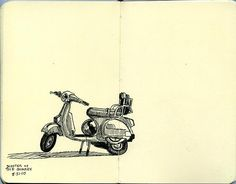 """Illustration - Paul Heaston """"Scooter At The Quarry"""" Poster Drawing, Paper Magic, Pencil Painting, Line Drawing, Drawing Ideas, Urban Sketchers, Sketch Inspiration, Illustration Art, Art Illustrations"""