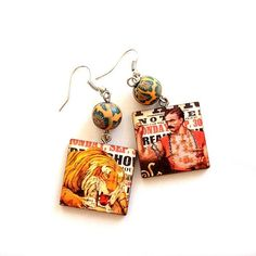 Yellow Orange dangle Art Circus poster Tiger & Man by XenaStyle, ₪79.00